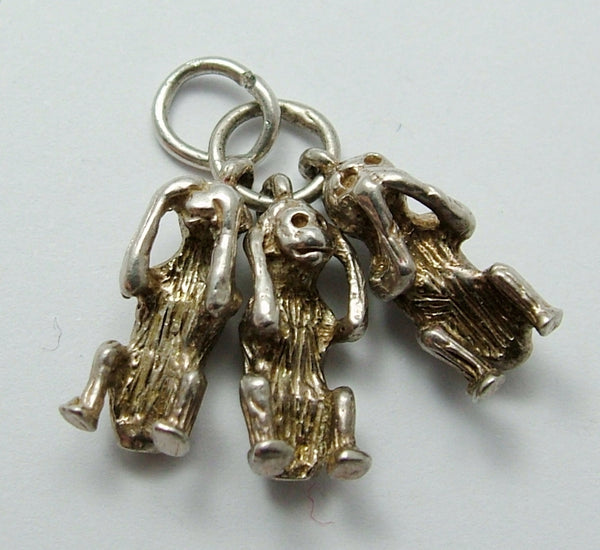 Vintage 1970's Solid Silver Three Wise Monkeys Charm Silver Charm - Sandy's Vintage Charms