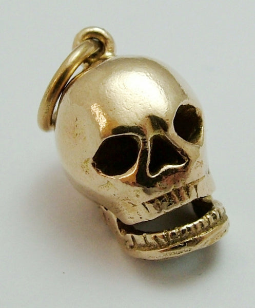 Vintage 1950's 9ct Gold Skull Charm with Opening Jaw RESERVED Gold Charm - Sandy's Vintage Charms