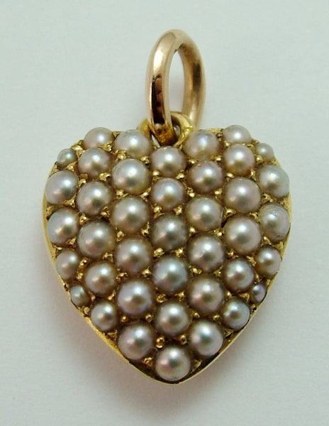 Antique Victorian 15ct Gold & Pavé Set Pearl Puffy Heart Charm Antique Charm - Sandy's Vintage Charms