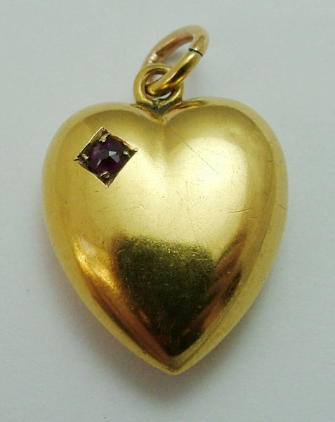 Antique Victorian 15ct Gold & Ruby Puffy Heart Charm Antique Charm - Sandy's Vintage Charms