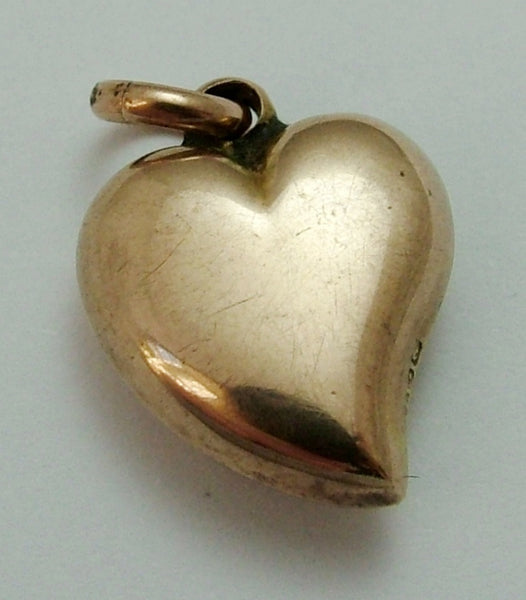 Antique Edwardian 9ct Rose Gold Puffy Witches Heart Charm Antique Charm - Sandy's Vintage Charms