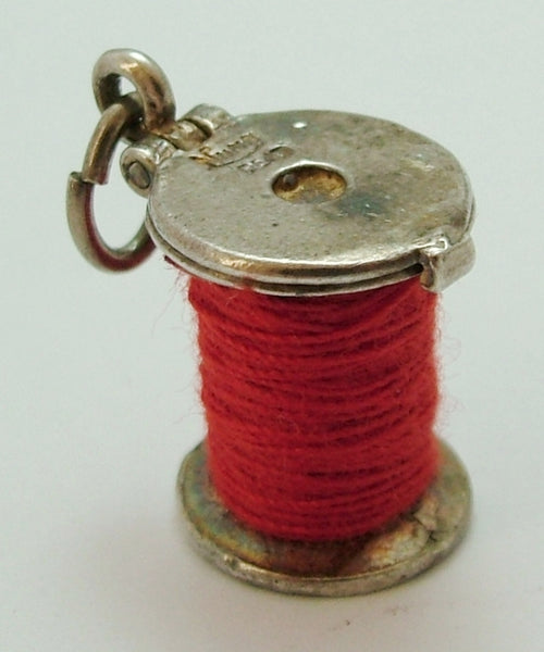 1960's Silver Opening Nuvo Red Cotton Reel Charm with Tiny Thimble Inside Nuvo Charm - Sandy's Vintage Charms