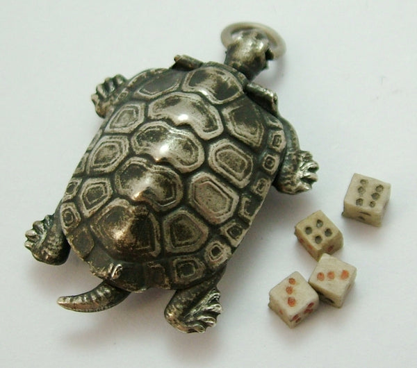 Antique Edwardian c1910 Japanese Silver Plated Tortoise Charm Opens to Four Dice Inside