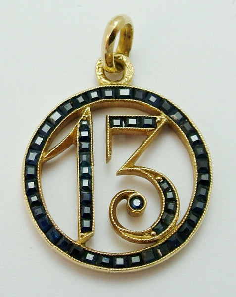 Vintage Art Deco 18ct Gold & Calibre Cut Sapphires Lucky No.13 Charm or Pendant 1920s-1950s Charm - Sandy's Vintage Charms