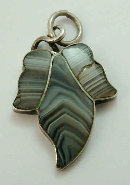 Antique Victorian c1890 Silver Ivy Leaf Charm Set with Banded Agate
