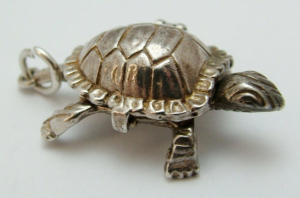 Vintage 1970's Silver Opening Tortoise Charm with Hare Inside Silver Charm - Sandy's Vintage Charms