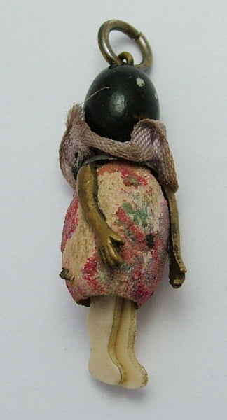 1920's Miniature Wooden 'Touch Wood' Doll Charm with Moving Celluloid Legs 1920s-1950s Charm - Sandy's Vintage Charms