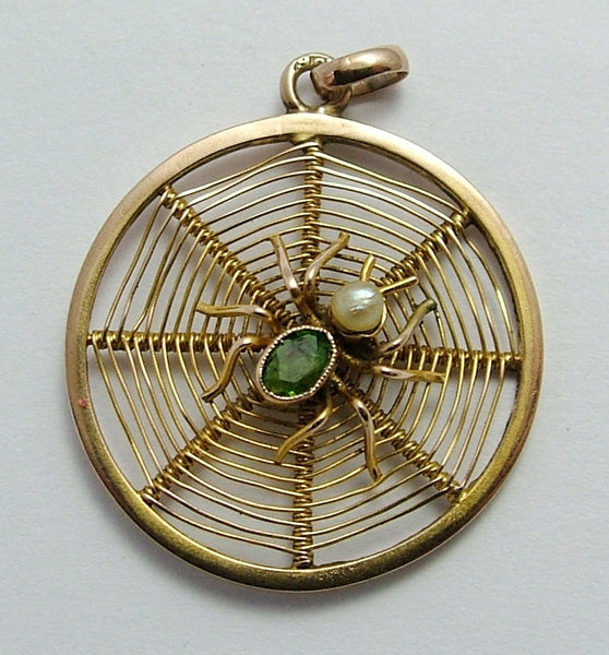 Antique Edwardian c1905 9ct Gold, Pearl & Faux Peridot Spider in a Web Charm Antique Charm - Sandy's Vintage Charms