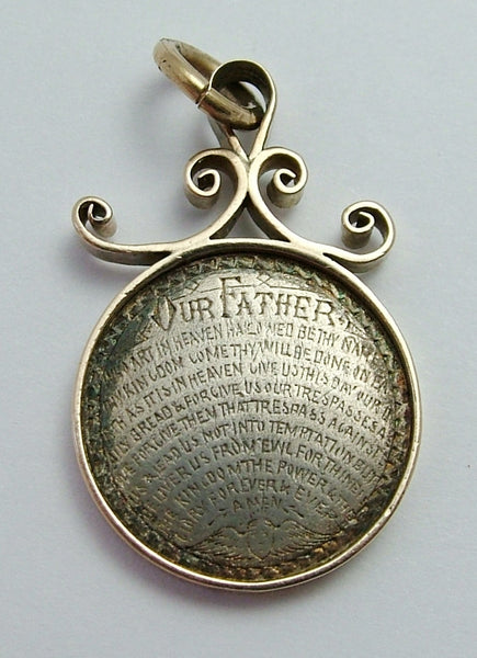 Antique Victorian Silver Love Token Coin Charm Engraved with The Lord's Prayer in 9ct Gold Mount Love Token - Sandy's Vintage Charms