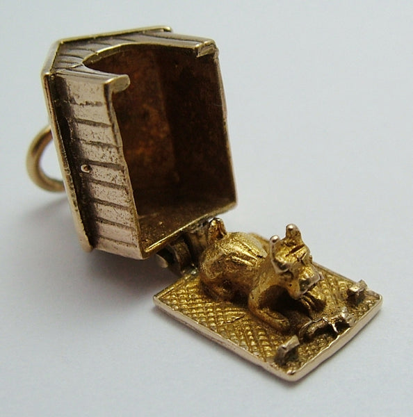 Vintage 1960's 9ct Gold Opening Kennel Charm Dog with Bone Inside Gold Charm - Sandy's Vintage Charms