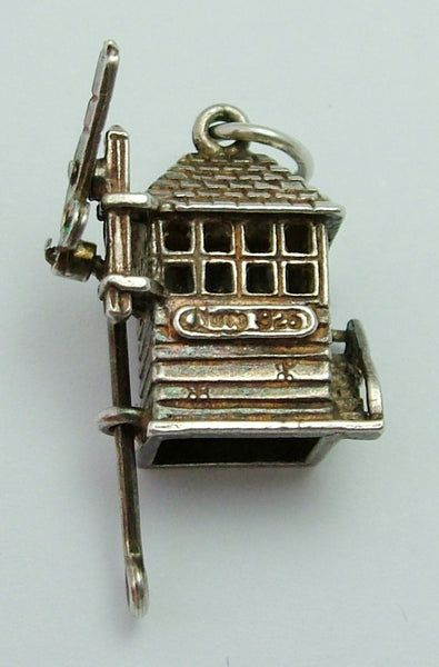Vintage 1970's Silver Nuvo Signal Box Charm with Moving Signal Arm Nuvo Charm - Sandy's Vintage Charms