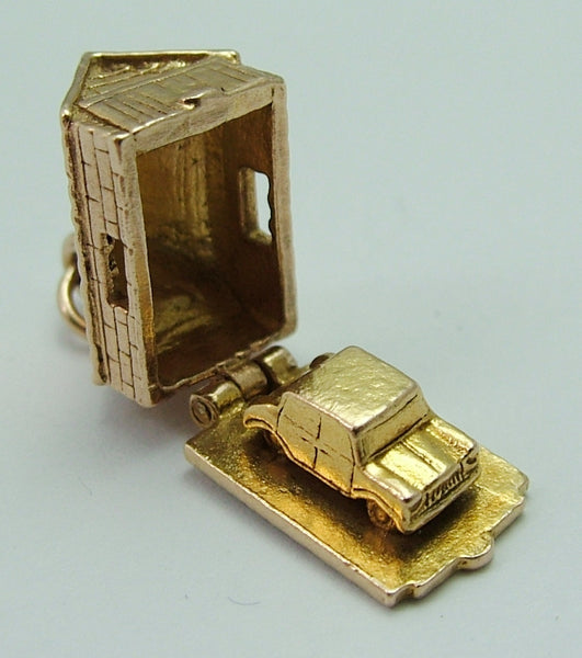 Vintage 1960's 9ct Gold Opening Garage Charm Car Inside Gold Charm - Sandy's Vintage Charms