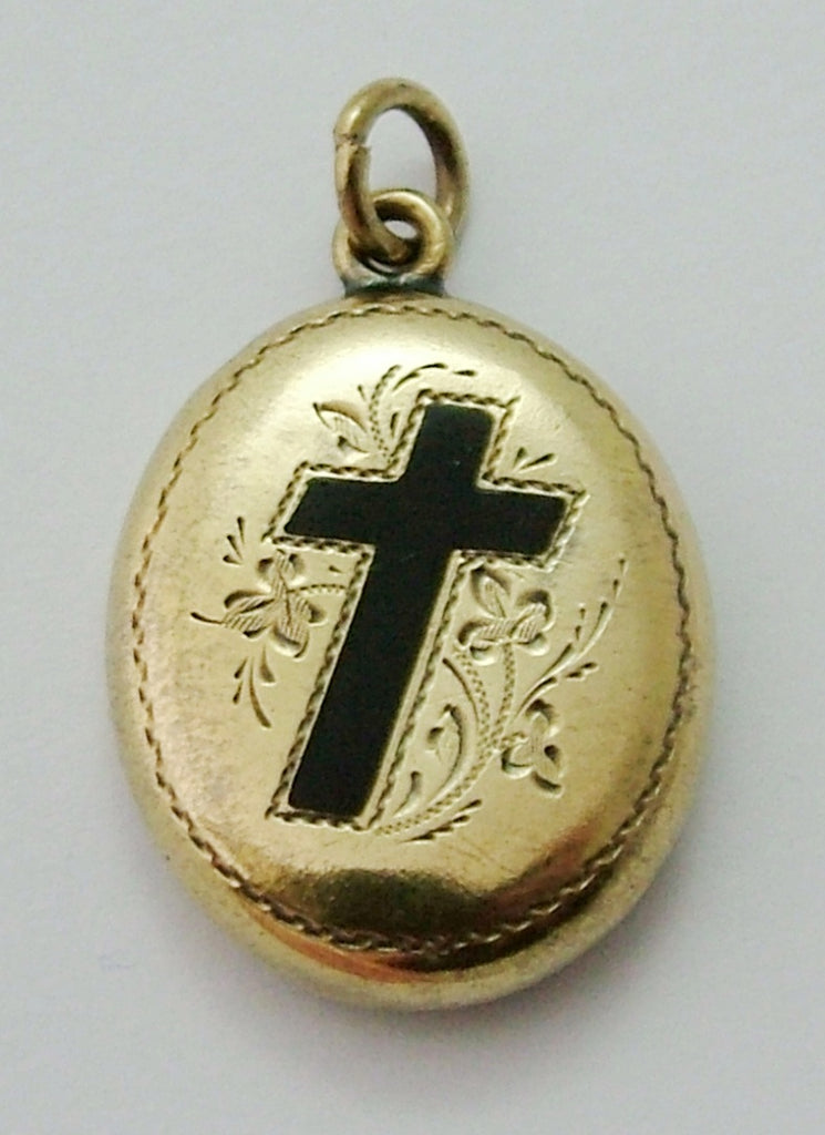 Antique Victorian c1890 12ct Gold Mourning Locket with Black Enamel Cross Antique Charm - Sandy's Vintage Charms
