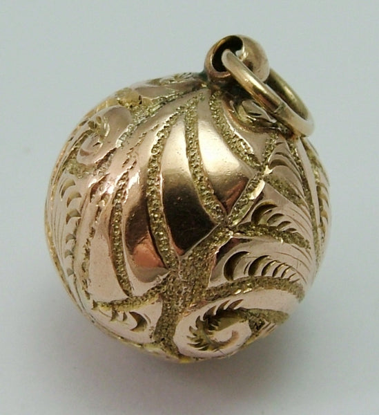 Antique Victorian 9ct Gold Puffed Decorative Ball Charm Victorian Charm - Sandy's Vintage Charms
