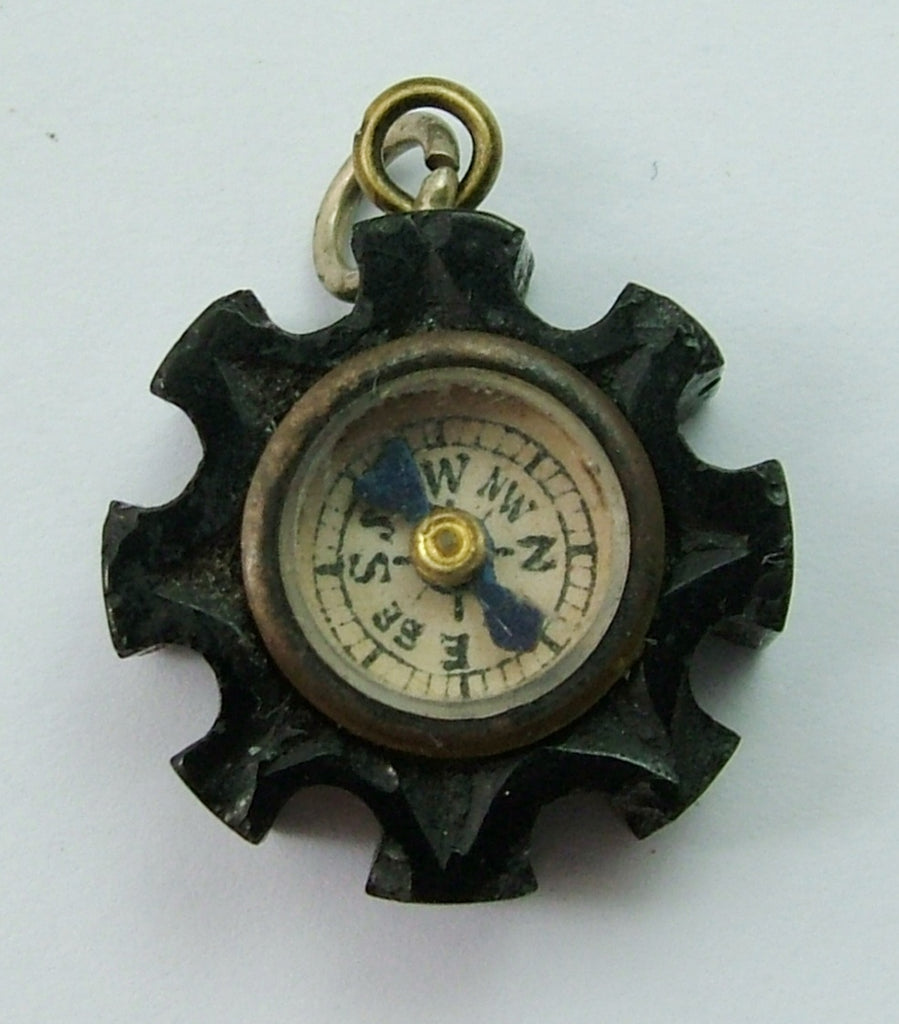 Antique Victorian c1890 Carved Whitby Jet Charm Set with a Miniature Compass Antique Charm - Sandy's Vintage Charms