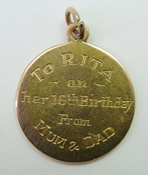 "Vintage 1930's Solid 9ct Gold Disc Charm ""To Rita on her 16th Birthday"""