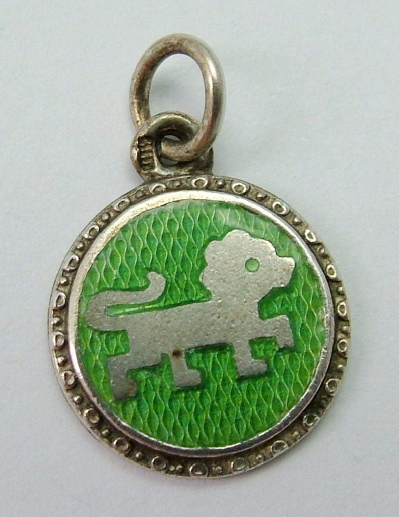 Small 1950's Silver & Green Enamel Leo the Lion Zodiac Charm Enamel Charm - Sandy's Vintage Charms