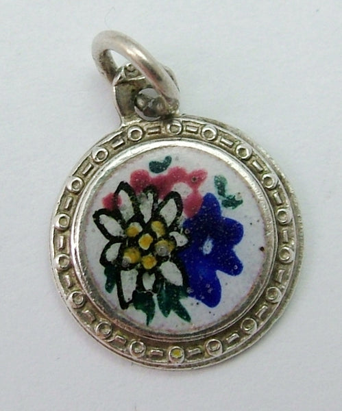 Small Vintage 1950's Silver & Enamel Alpine Flower Disc Charm Enamel Charm - Sandy's Vintage Charms