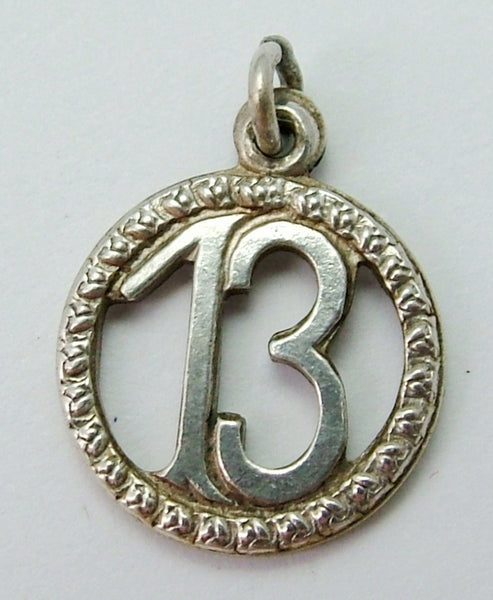 Small Vintage 1950's Silver Lucky Number 13 Charm 1920s-1950s Charm - Sandy's Vintage Charms
