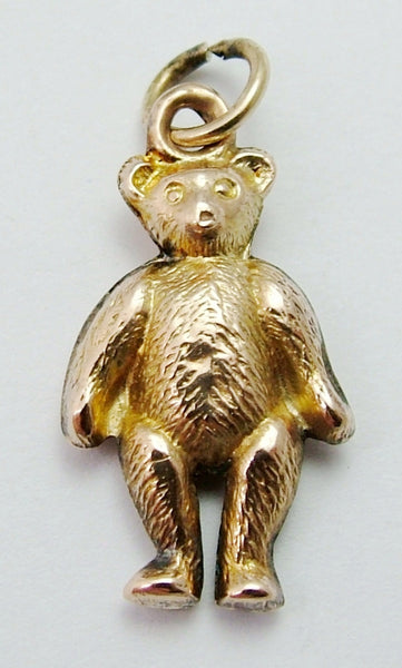 Antique Edwardian c1910 9ct Gold Puffed Teddy Bear Charm
