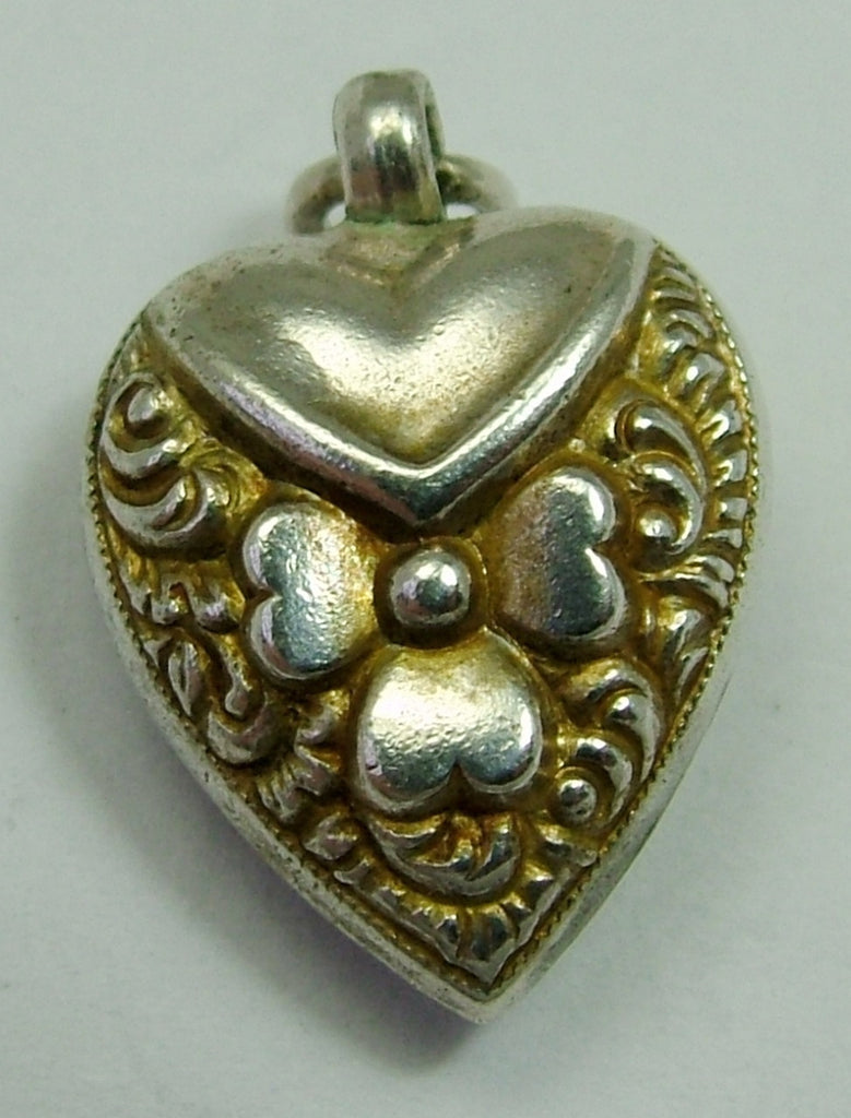 Victorian Silver Puffy Heart Charm with Repousse Decoration - Sandy's Vintage Charms