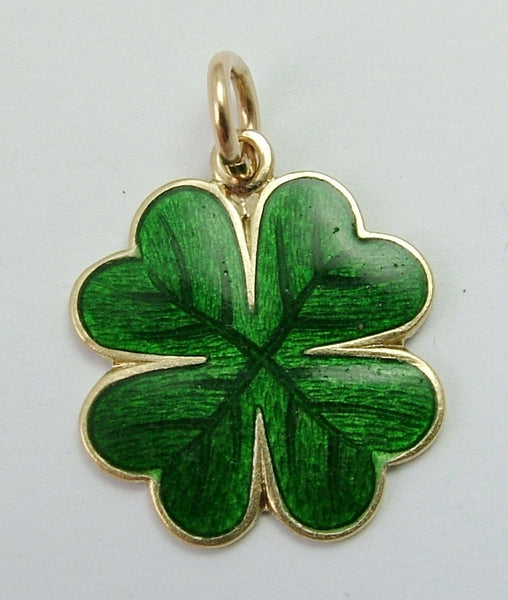 Antique Edwardian c1910 14k 14ct Gold & Enamel Lucky Four Leaf Clover Charm Antique Charm - Sandy's Vintage Charms