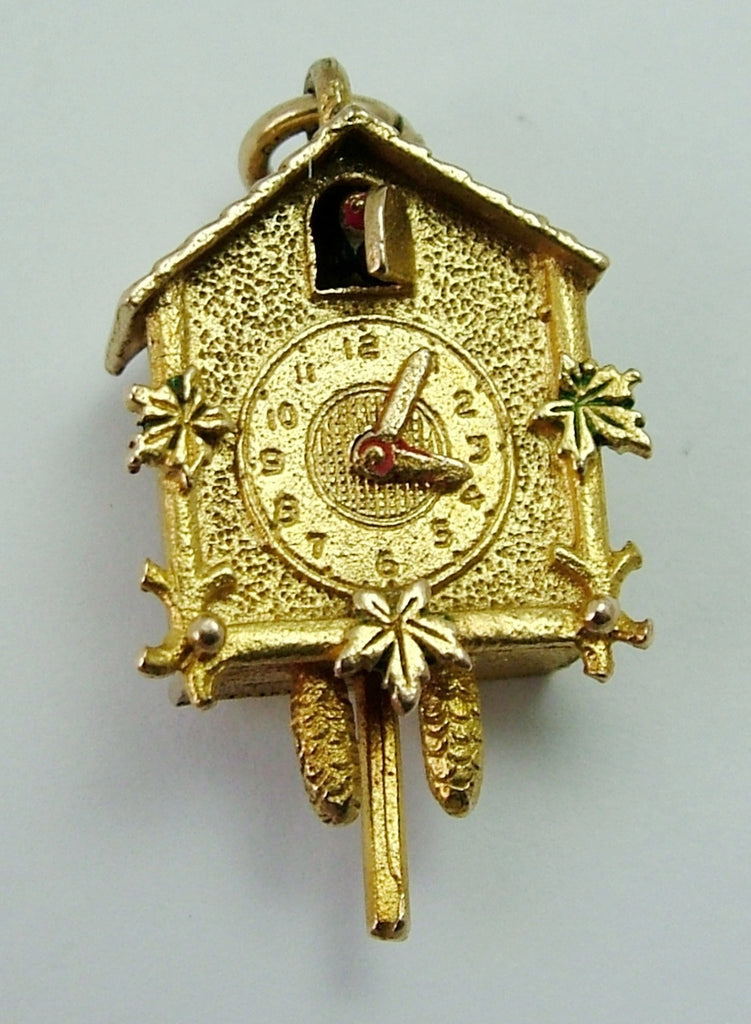 Vintage 1950's 9ct Gold Cuckoo Clock Charm - Moving Cuckoo and Hands Gold Charm - Sandy's Vintage Charms
