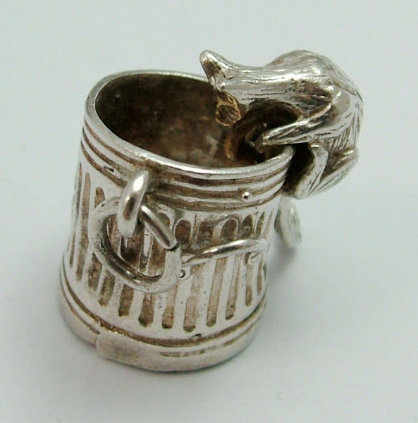 Vintage 1970's Silver Nuvo Moving Cat on a Dustbin Charm Nuvo Charm - Sandy's Vintage Charms