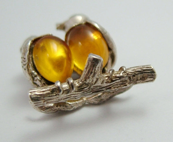 Vintage 1960's Silver & Amber Crystal Nuvo Lovebirds Charm Nuvo Charm - Sandy's Vintage Charms