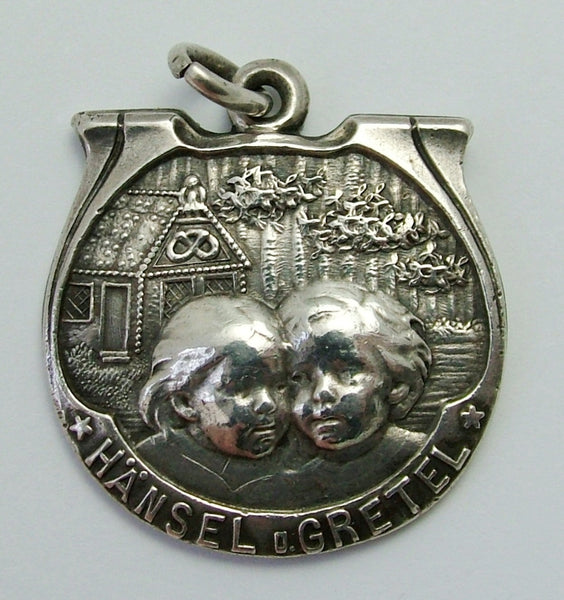 Large Antique Victorian c1890 German Silver Art Nouveau Hansel & Gretel Fob Charm Antique Charm - Sandy's Vintage Charms