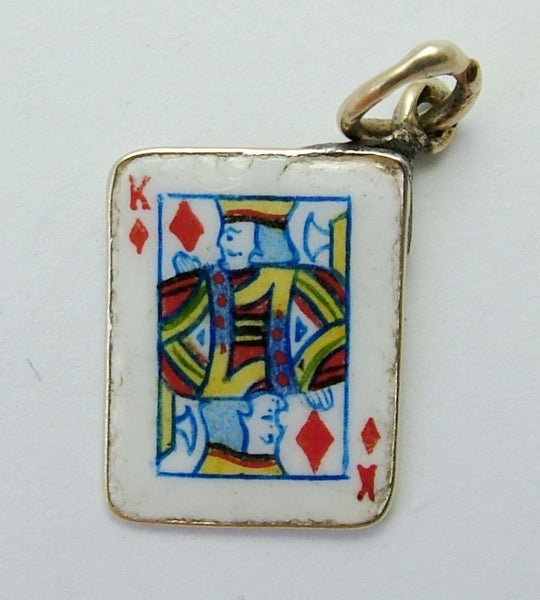 Vintage 1950's 9ct Gold & Enamel King of Diamonds Playing Card Charm Enamel Charm - Sandy's Vintage Charms