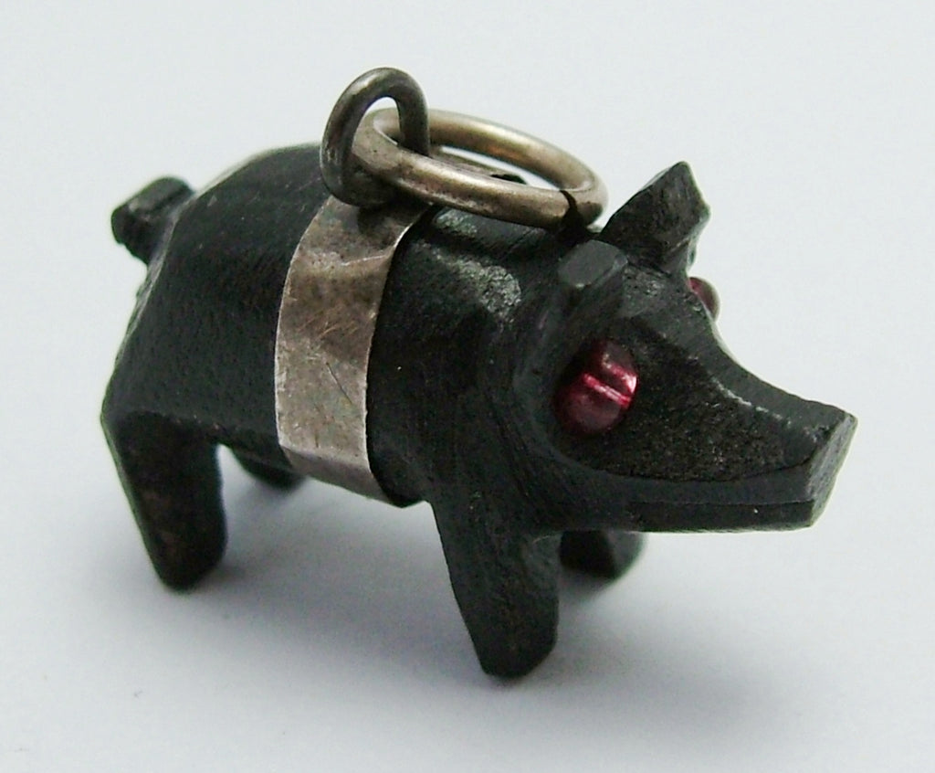 Antique Edwardian c1910 Silver & Carved Bog Oak Pig with Pink Glass Bead Eyes Antique Charm - Sandy's Vintage Charms