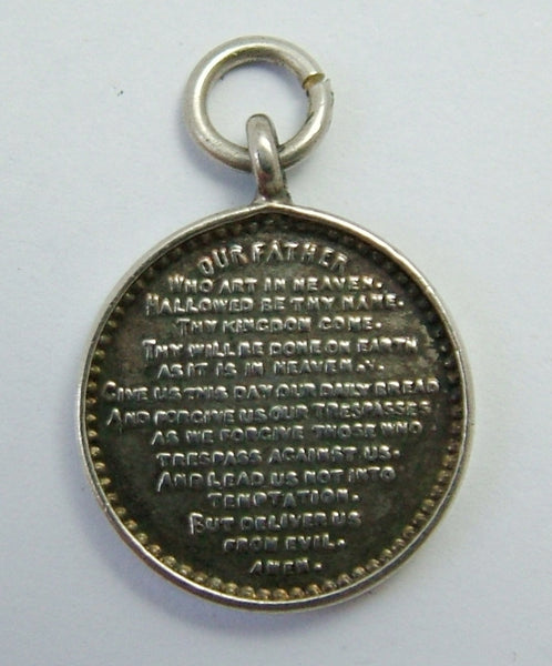 Antique Edwardian c1910 Silver 'Lord's Prayer' Disc Charm Antique Charm - Sandy's Vintage Charms