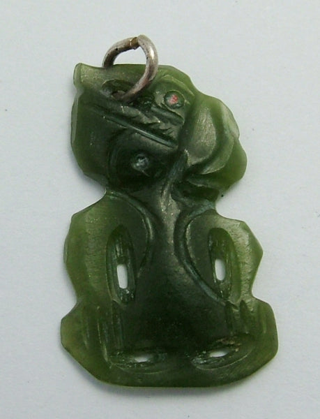 Vintage 1950's Silver & Carved Nephrite Jade Tiki Charm or Pendant 1920s-1950s Charm - Sandy's Vintage Charms