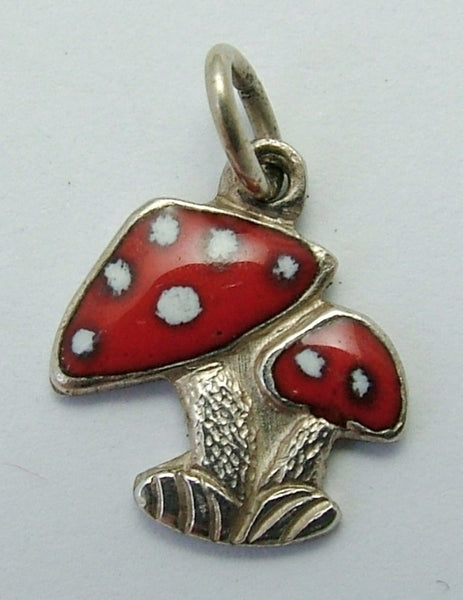 Small Vintage 1950's Silver & Red Enamel Lucky Toadstool Charm Enamel Charm - Sandy's Vintage Charms