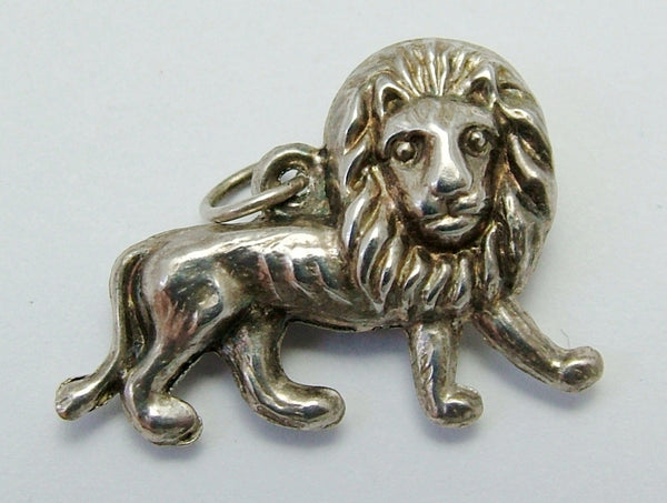Vintage 1930's Silver Puffed Lion Charm 1920s-1950s Charm - Sandy's Vintage Charms