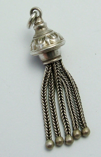 Antique Victorian c1900 Silver Five Tassel Fob Charm Antique Charm - Sandy's Vintage Charms