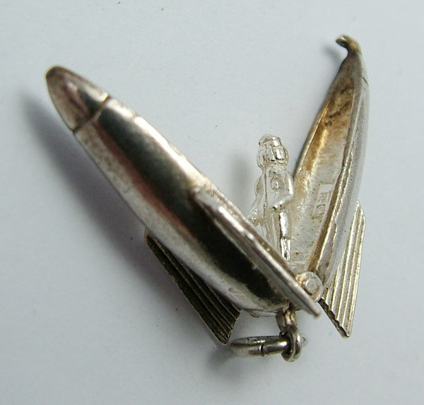 Vintage 1960's Silver Opening Nuvo Rocket Charm Astronaut Inside Nuvo Charm - Sandy's Vintage Charms