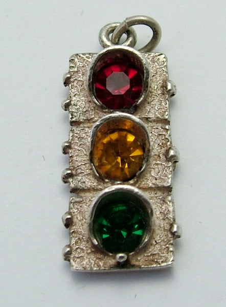 Vintage 1970's Silver & Paste Jewels Traffic Light Charm Silver Charm - Sandy's Vintage Charms