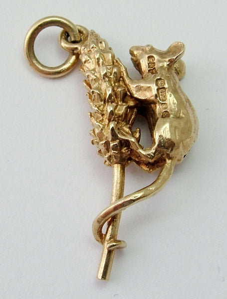 Vintage 1980's Solid 9ct Gold Mouse on Corn Charm Gold Charm - Sandy's Vintage Charms
