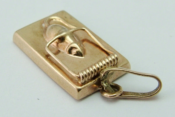 Vintage 1970's Hollow 9ct Rose Gold Mouse in a Trap Charm Rose Gold Charm - Sandy's Vintage Charms