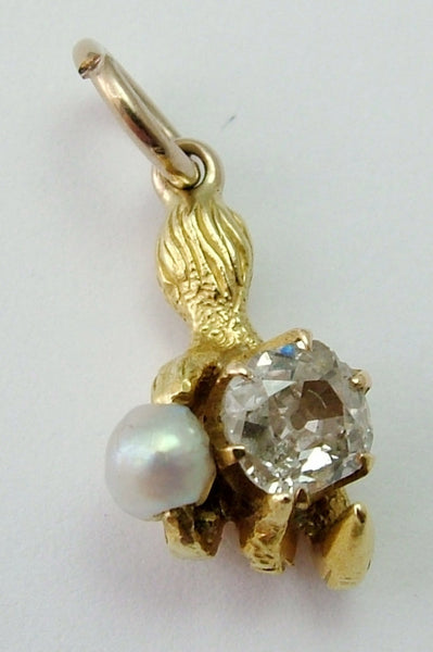 Antique Victorian c1880 15ct Gold, Old Cut Diamond & Pearl Claw Charm Antique Charm - Sandy's Vintage Charms