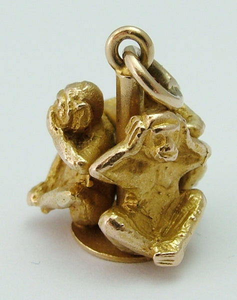 Heavy Vintage 1960's Solid 9ct Gold Three Wise Monkeys Charm Gold Charm - Sandy's Vintage Charms
