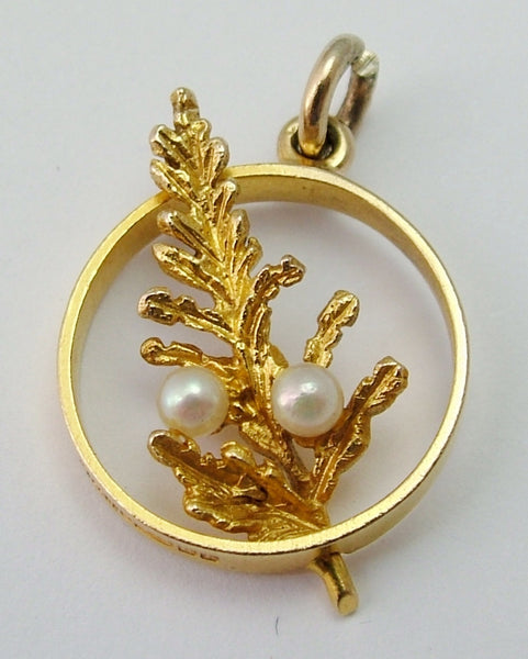 Vintage 1960's Solid 9ct Gold Lucky Heather Charm with Pearls Gold Charm - Sandy's Vintage Charms