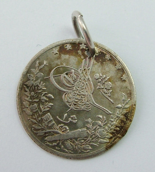 "Antique Victorian Silver Engraved Love Token Coin Charm ""G"" Love Token - Sandy's Vintage Charms"