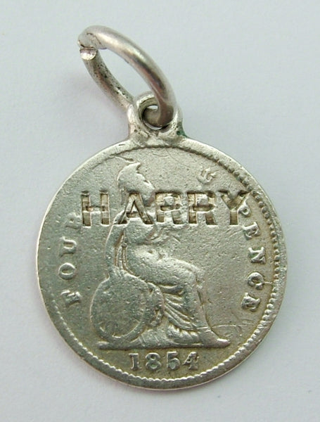Antique Victorian Silver Engraved Love Token Coin Charm HARRY Love Token - Sandy's Vintage Charms