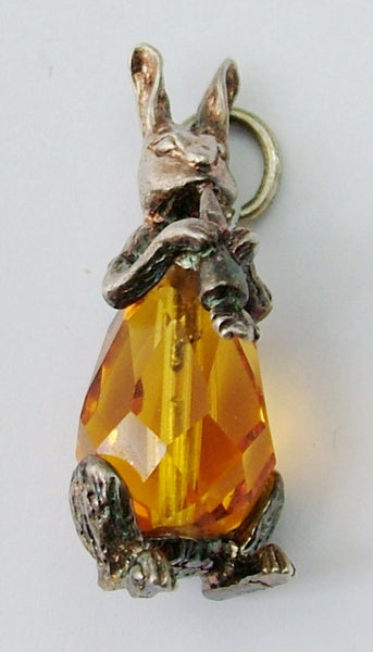 Vintage 1970's Silver & Amber Crystal CHIM Rabbit Eating Carrot Charm Nuvo Charm - Sandy's Vintage Charms