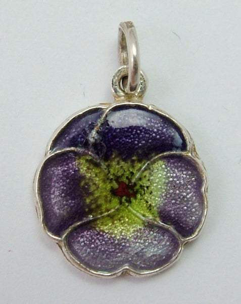 Vintage 1960's Silver & Enamel Pansy or Viola Flower Charm Enamel Charm - Sandy's Vintage Charms
