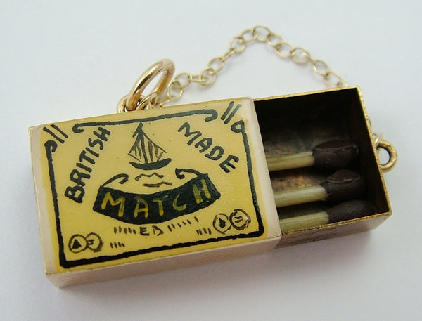1970's 9ct Gold Enamel Painted Opening Match Box Charm Matches Inside Gold Charm - Sandy's Vintage Charms