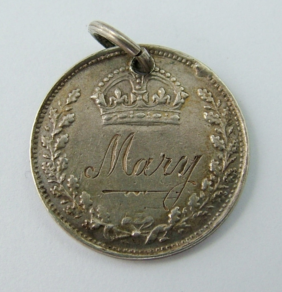 Antique Victorian Silver Engraved Love Token Coin Charm MARY Love Token - Sandy's Vintage Charms